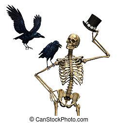 sr, esqueleto, con, cuervos