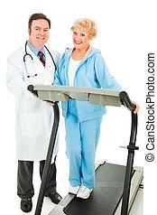 sr, femme, heureux, docteur