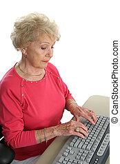 sr, senhora, @, computador