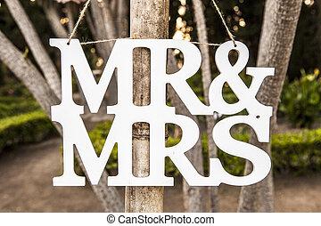 sr, y, señora, boda blanca, cartas, muestra que cuelga