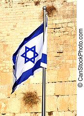 srael, muur, -, vlag, westelijk, jeruzalem