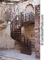 India - Sraircase inside of Fort Mehrangarhin Rajasthan...
