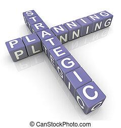 Srategic planning crossword - 3d render of strategic...