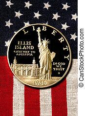 srebro dolar, na, amerykańska bandera, 1986