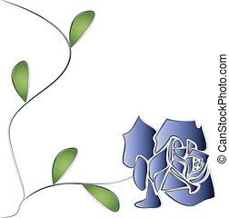 srebro, róża, pień, i, liście, wektor