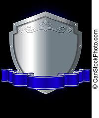 srebro, tarcza, i błękitny, ribbon.