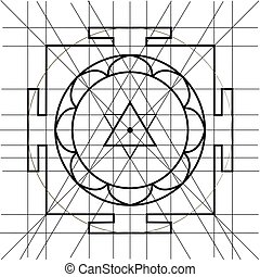 Sree Yantra. Sacred Geometry coloring book