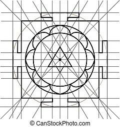 sree, yantra., sagrado, geometría, libro colorear