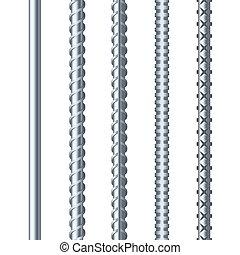 sreel, rebars, conjunto, blanco, fondo., metal, armature., vector