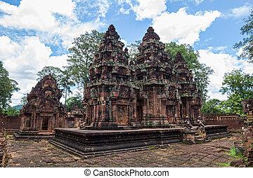 srei, banteay, structures, récolter, cambodia., siem, principal, temple