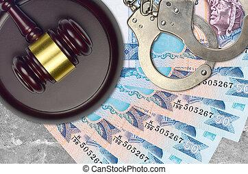 sri, juge, rupees, bribery., menottes, lankan, impôt, procès, police, tribunal, concept, factures, ou, desk., action éviter, marteau, 50, judiciaire
