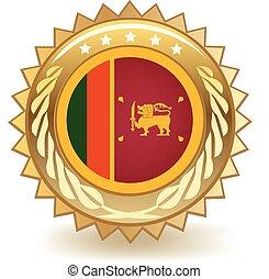 Sri Lanka Badge - Gold badge with the flag of Sri Lanka.