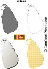 Sri Lanka blank detailed outline map set