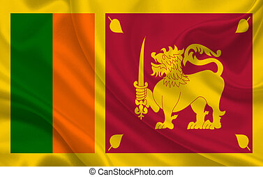 Sri Lanka country flag on wavy silk fabric background panorama
