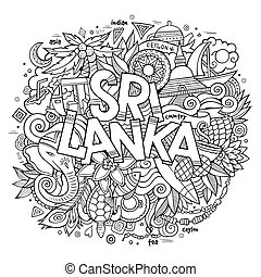 Sri Lanka country hand lettering and doodles elements - Sri...