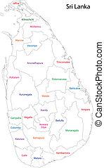 Sri Lanka - Administrative division of Sri Lanka map