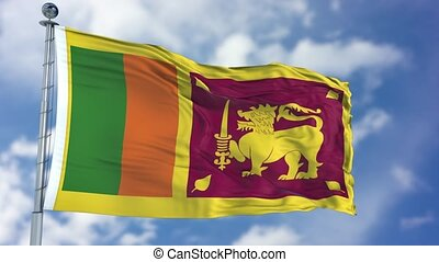 Sri Lanka Flag in a Blue Sky