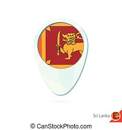 Sri Lanka flag location map pin icon on white background....