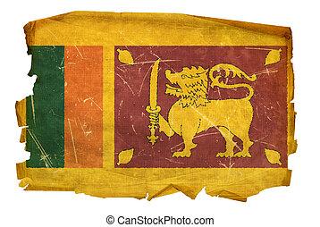 Sri Lanka Flag old, isolated on white background.