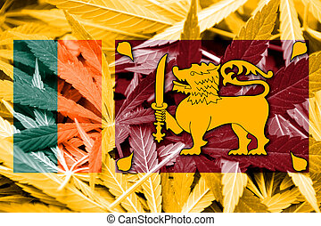 Sri Lanka Flag on cannabis background. Drug policy....
