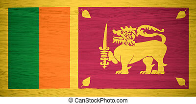 Sri Lanka flag on wood texture