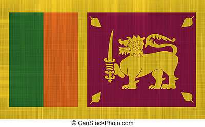 Sri Lanka Flag with a fabric texture