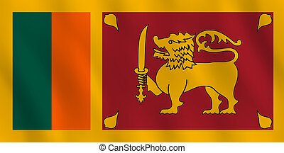 Sri Lanka flag with waving effect, official proportion.