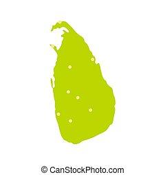 Sri Lanka green map icon, flat style