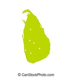 Sri Lanka green map icon, flat style