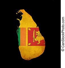 Sri Lanka map outline grunge flag