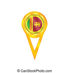 Sri Lanka pin flag - Gold pin with the national flag of Sri...