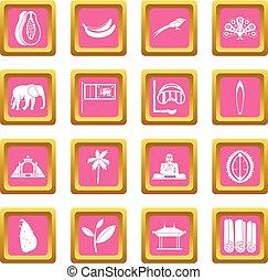 Sri Lanka travel icons pink