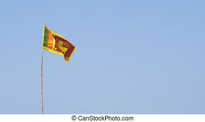 Sri Lankan National Flag Flying on a Pole - Sri Lankan...