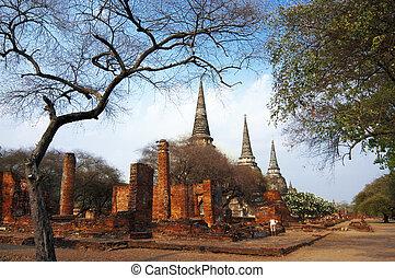 sri, phra, sanphet, ayudhya, tailandia, wat, provincia