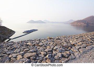 Srinagarind dam and a solar farm in the reservoir