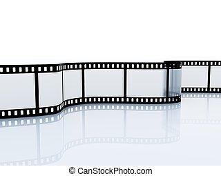 srip, isolato, 35mm, vuoto, bianco, film