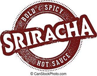 Rubber stamp imprint featuring sriracha hot sauce.