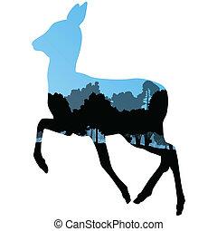 srna, zvěřina, jelen, animální, silhouettes, do, divoký,...