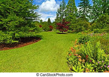 srpingtime, landskapsarkitektur, trädgård