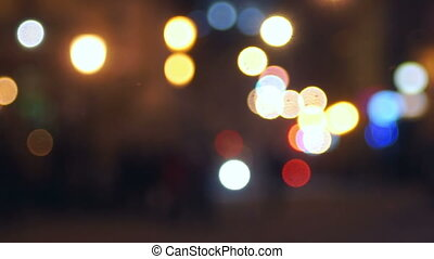 Srteet light evening people walking