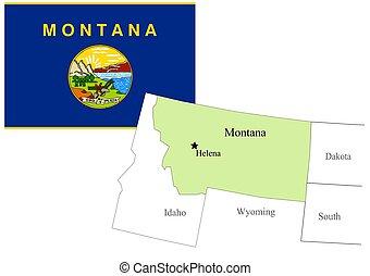 State Montana of Usa flag and map, vector illustration