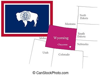 State Wyoming of Usa flag and map, vector illustration