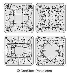 Decorative finishing ceramic tiles. B&W  illustration