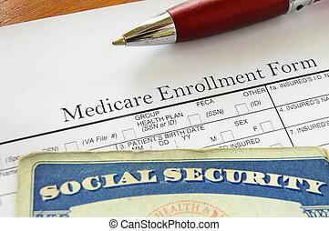Social Security card and Medicare enrollment form