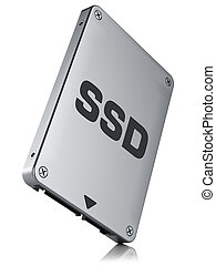 SSD drive, State solid drivesisolated on white background 3d