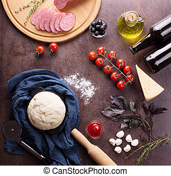 Sset of fresh food for the preparation of fragrant pepperoni pizza