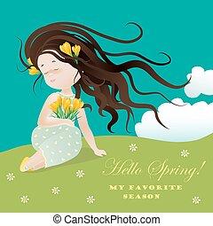 ssitting, dziewczyna, kwiat, trawa