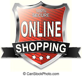 SSL 100% secure online shopping shield web icon badge