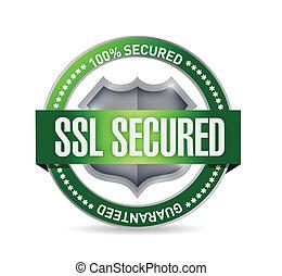 ssl, asegurado, sello, o, protector, ilustración, diseño