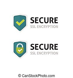 SSL certificate vector icon, secure encryption shield,...
